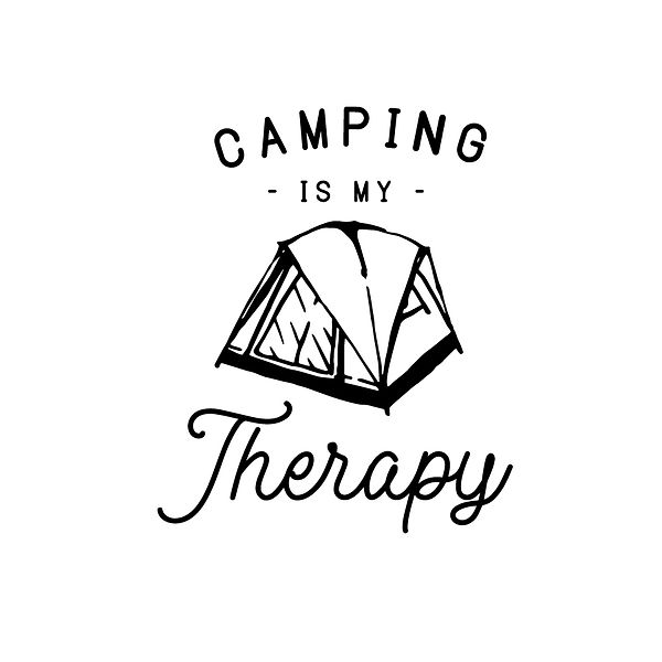Camping is my therapy   Free Printable Slay & Silly Quotes T- Shirt Design in Png