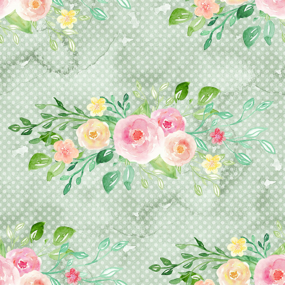 Gorgeous watercolor digital paper with pastel flowers   Scrapbook Paper