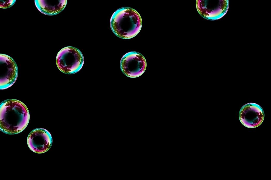 Wonderful realistic soap bubbles on black background | Photoshop Overlay