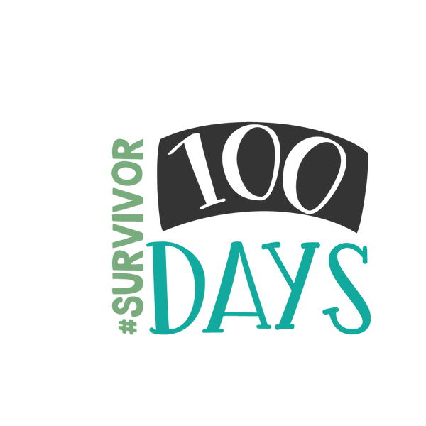100 days survivor | Free Iron on Transfer Cool Quotes T- Shirt Design in Png