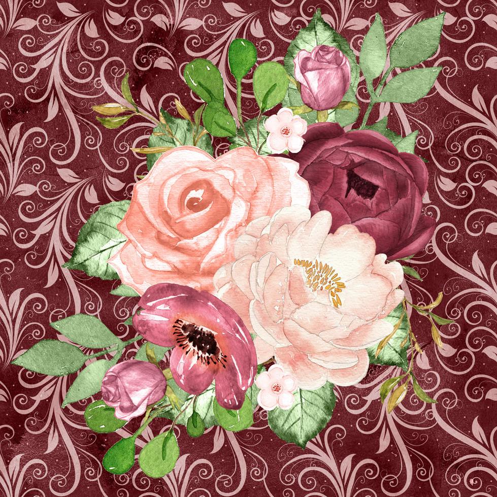 Luxurious watercolor digital paper with pastel flowers | Fine Art Digital Paper