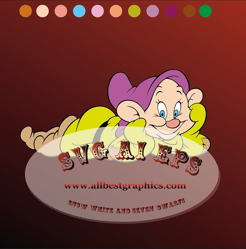 Dopey Dwarfs Svg Eps Ai Dxf Png   Snow White and the Seven Dwarfs