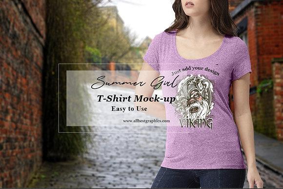 Young women T-Shirt mock up | Sexy woman T-shirt mockup | Psd template