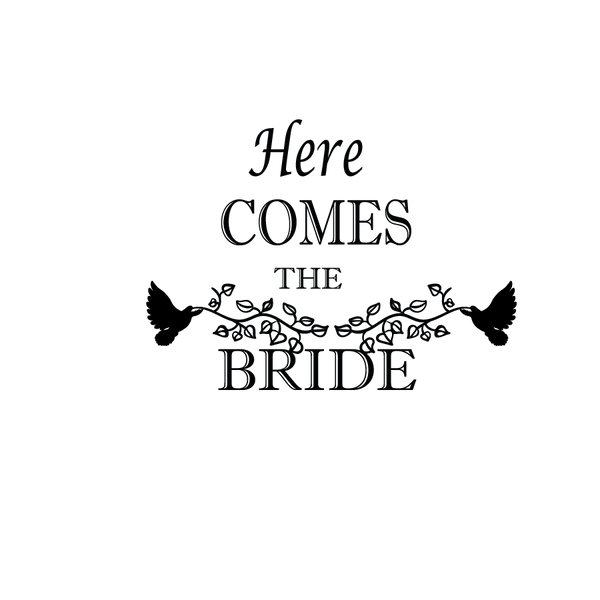 Here comes the bride | Free download Iron on Transfer Cool Quotes T- Shirt Design in Png