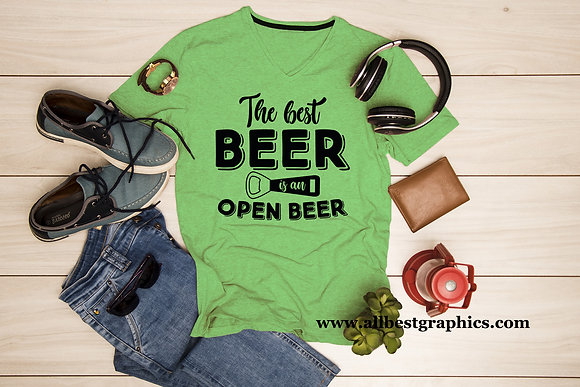 The best beer is an open beer   T-Shirt design   Funny Quotes Eps Dxf Svg Png