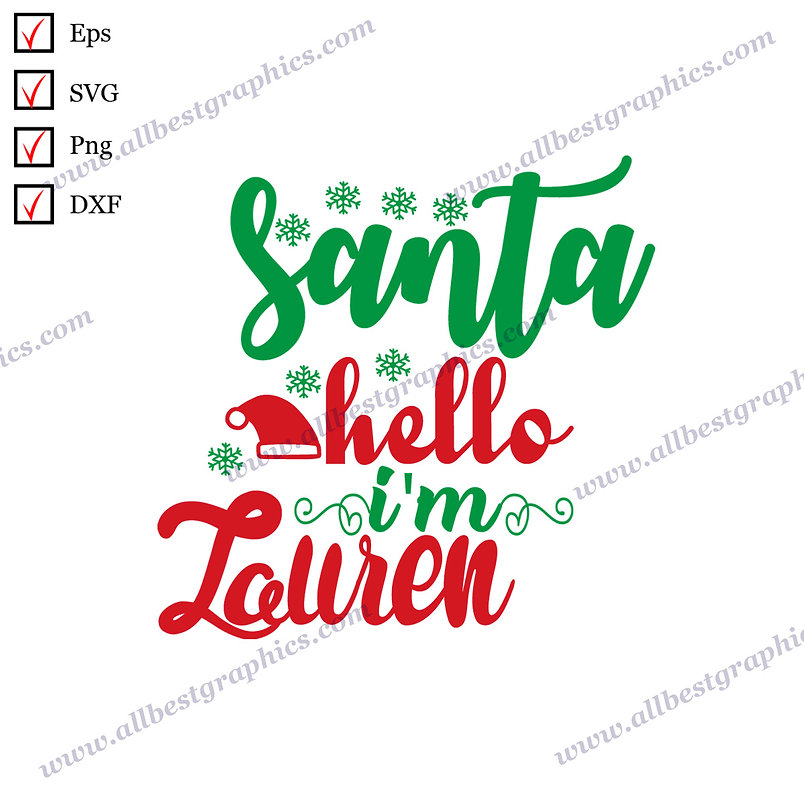 Santa Hello | Cool Quotes Instant Download Christmas Design SVG Dxf Eps Png