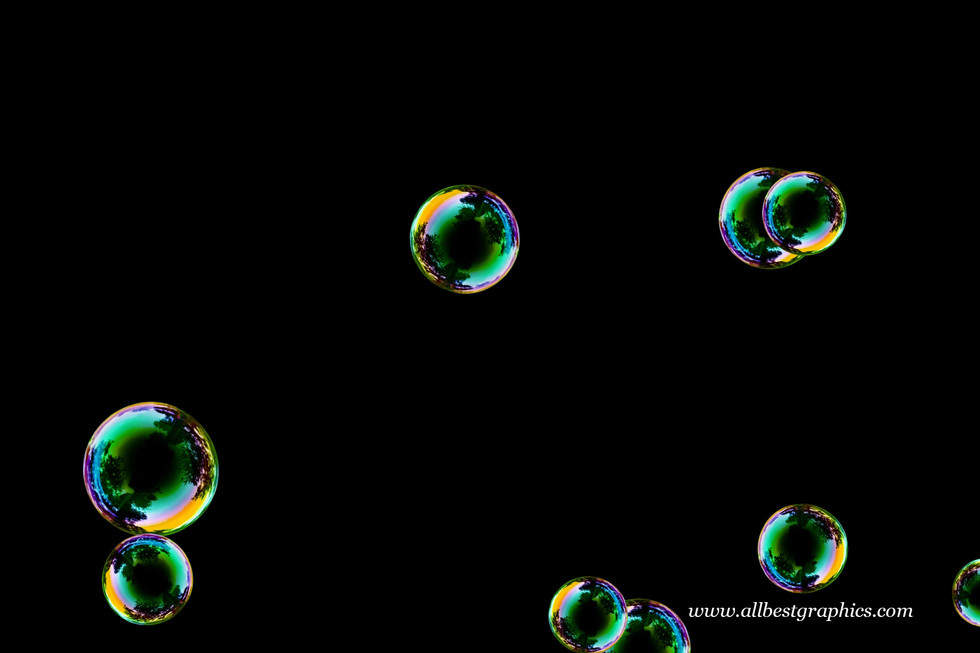 Wondrous air soap bubbles on black background | Bubble Photo Overlay