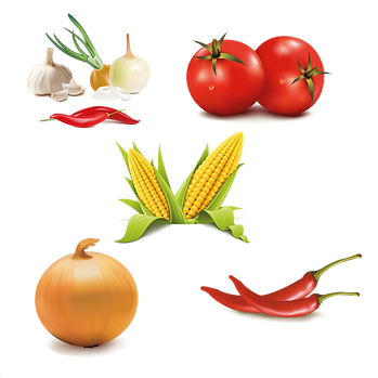 Mixed healthy and organic fruits & vegetables digital collection  - Food clipart free download 2400x2400 png