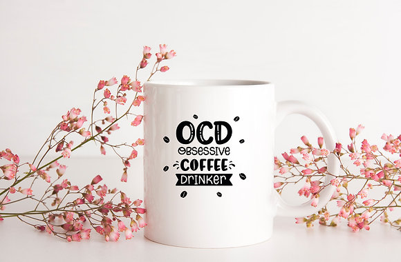 OCD obsessive coffee drinker| Hand-lettered funny quotes about coffee