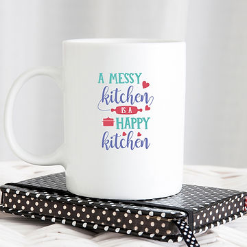 A Messy Kitchen is a Happy Kitchen | Funny Kitchen Sign in Eps Svg Png Dxf