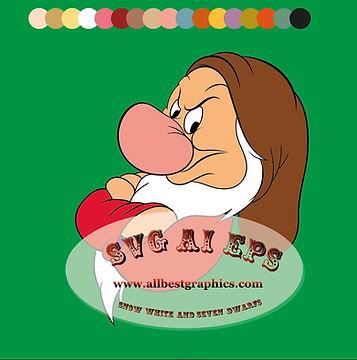I'm Grumpy - Disney clipart | Snow White | Seven Dwarfs Heads clip art