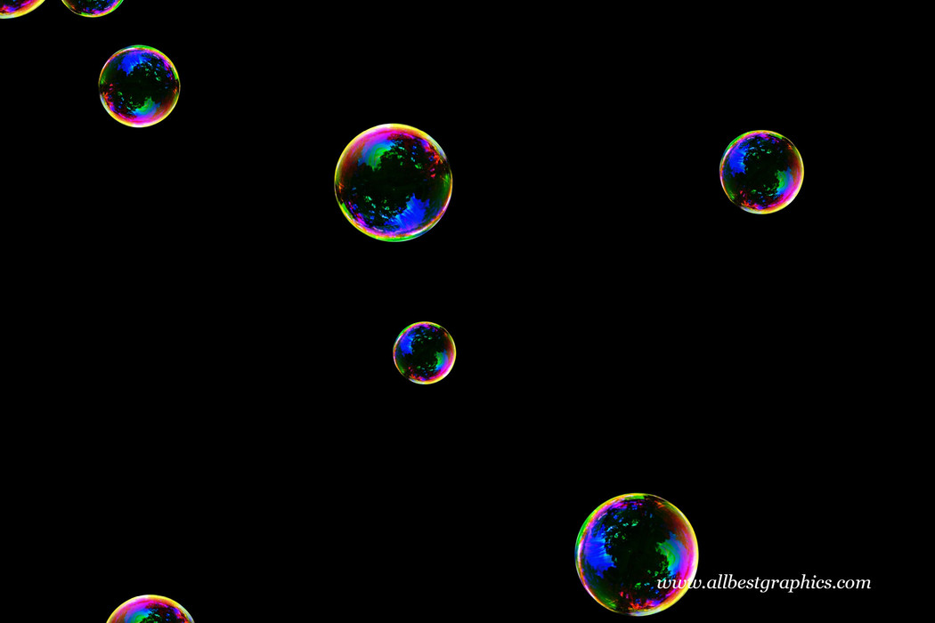 Dreamy realistic soap bubbles on black background | Bubble Photoshop Overlay