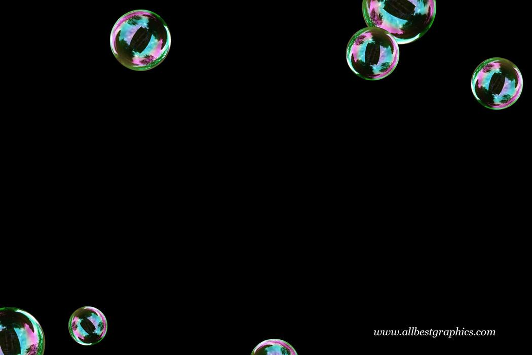 Wondrous colorful soap bubbles on black background   Photo Overlay