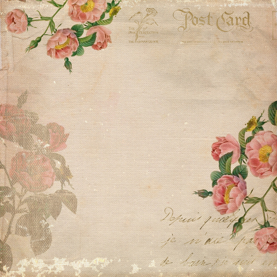 Vintage floral digital paper with peonies | Collage Sheets & Paper