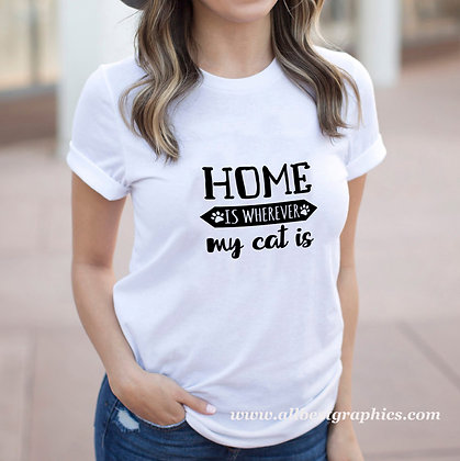 Home Is Wherever My Cat Is | Funny Quotes & Signs about Pets for Cricut