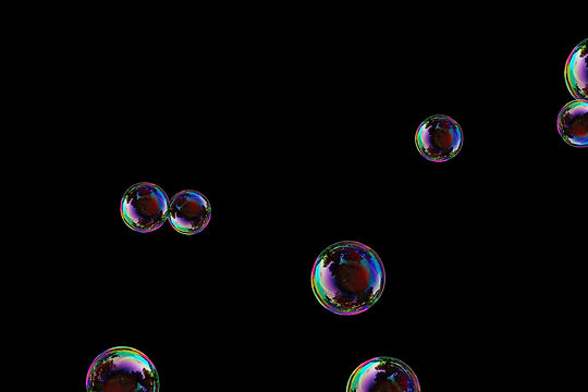 Stunning realistic soap bubbles on black background   Photoshop overlays