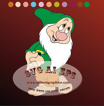 Bashful dwarfs svg | Snow White and the Seven dwarfs clipart - Ai Eps Svg Dxf Png files 01
