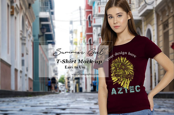 Stylish T-Shirt mock up | Female T-shirt mockup | Psd template with smart object
