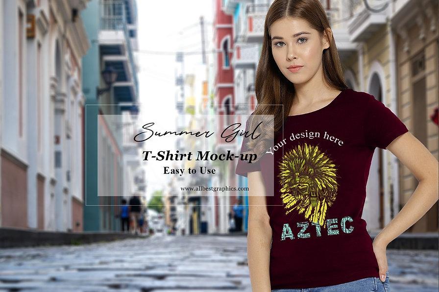 Stylish T-Shirt mockup | Female T-shirt mock up | Psd template with smart object