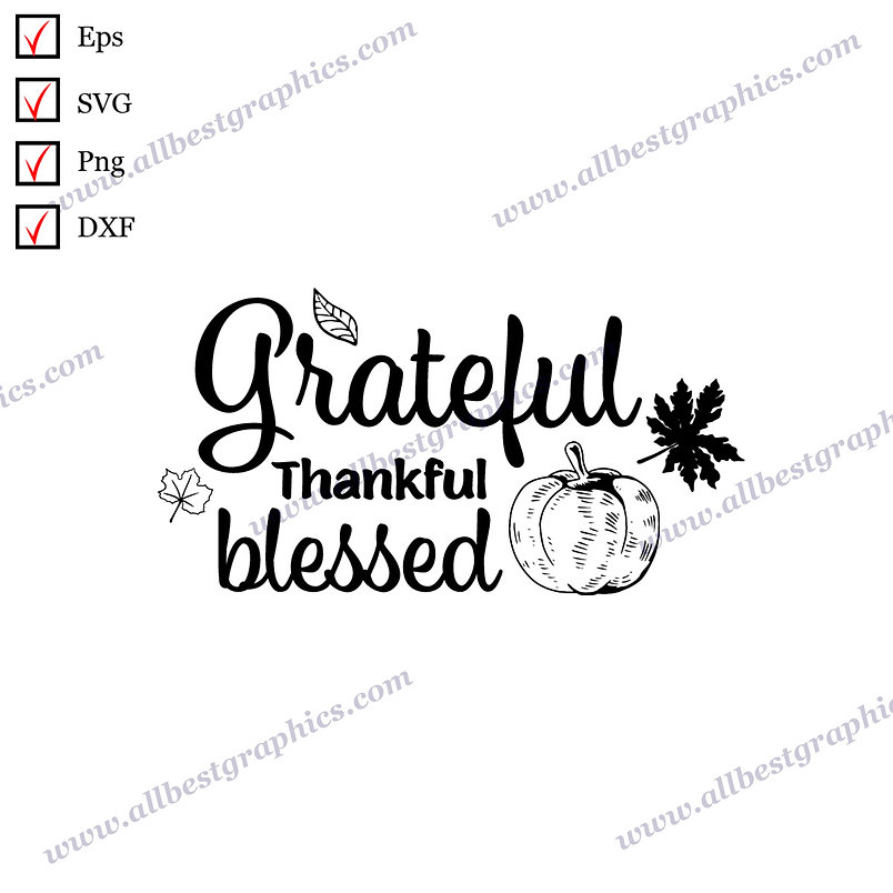 Grateful Thankful Blessed   Cool Quotes Christmas Template SVG Png Eps Dxf
