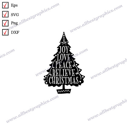Christmas Tree Joy Love Believe | The Best Funny Sayings Ready-to-Use Christmas