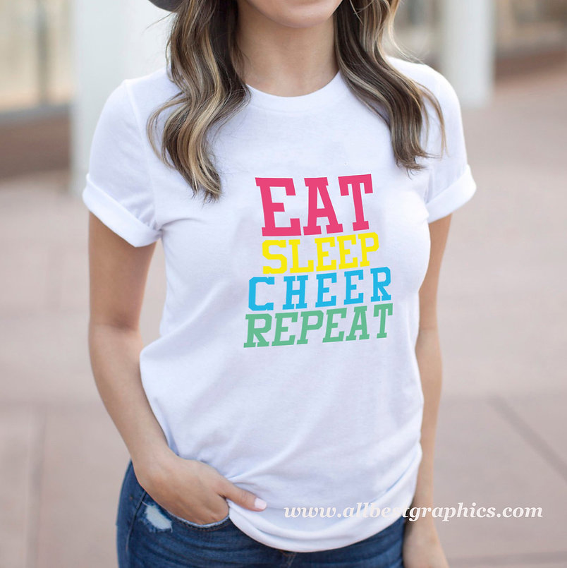 Eat Sleep Cheer Repeat |  Funny Sport Quotes & Signs for Cricut and Silhouette