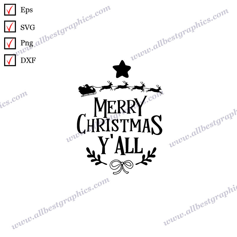 Merry Christmas Y'all | Best Cool Sayings Vector Graphics Christmas Design