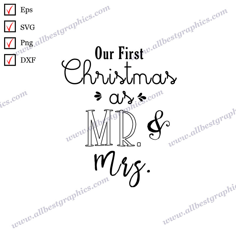 Our First Christmas as mr & mrs | Funny Sayings Vector Clipart Christmas Décor