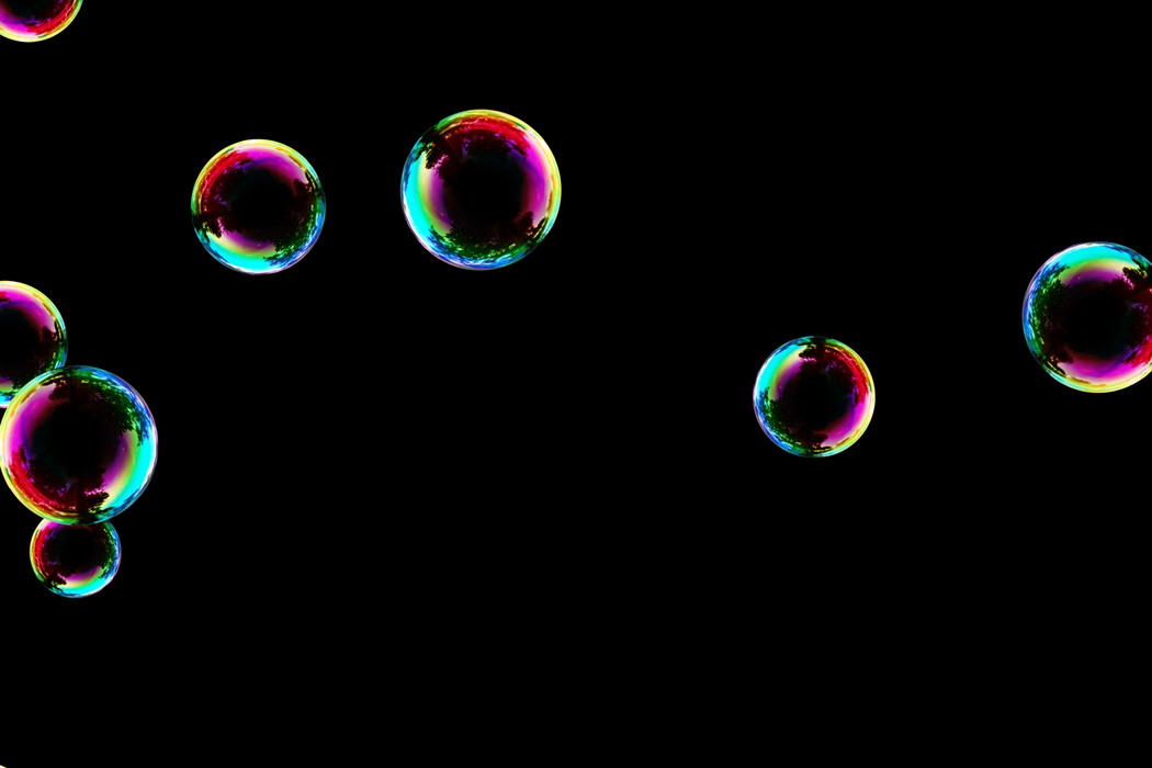 Superb realistic soap bubbles on black background | Photoshop Overlay