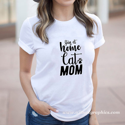 Stay At Home Cat Mom | Cool Mom Quotes & Signs in Eps Svg Png Dxf