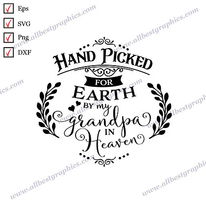 Hand Picked By My Grandpa | Cool and Funny Quotes Christmas Decor Vector Clipart