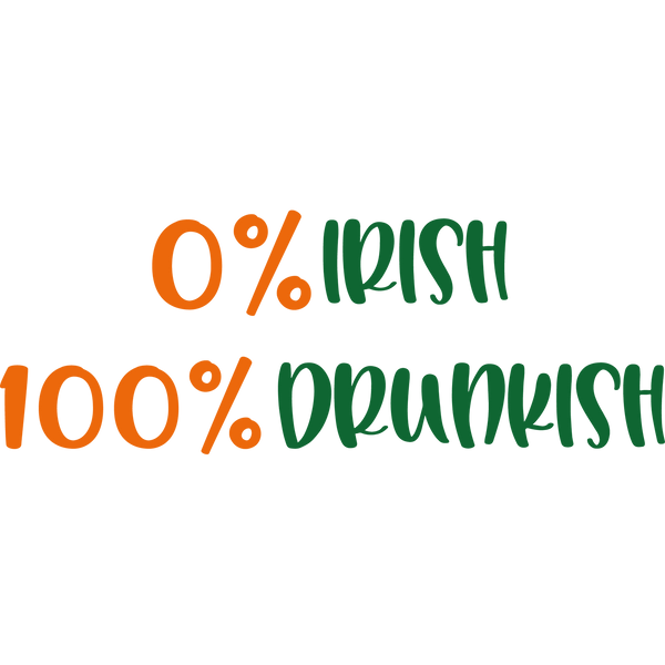 Zero Irish 100 Drunkish | Funny Quotes for T- Shirt Design