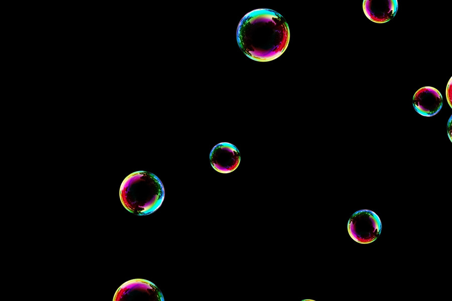 Dreamy colorful soap bubbles on black background   Photo Overlay