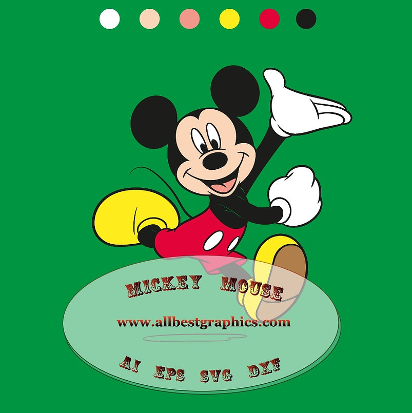 Mickey Mouse clipart Eps Svg Ai Png Dxf | Disney cartoons cut files Silhouette