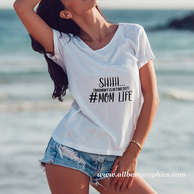 Shhh... mommy is in time out   Best T-Shirt QuotesCut files inSvg Dxf Eps