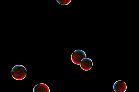 Wonderful colorful soap bubbles on black background | Photo Overlays