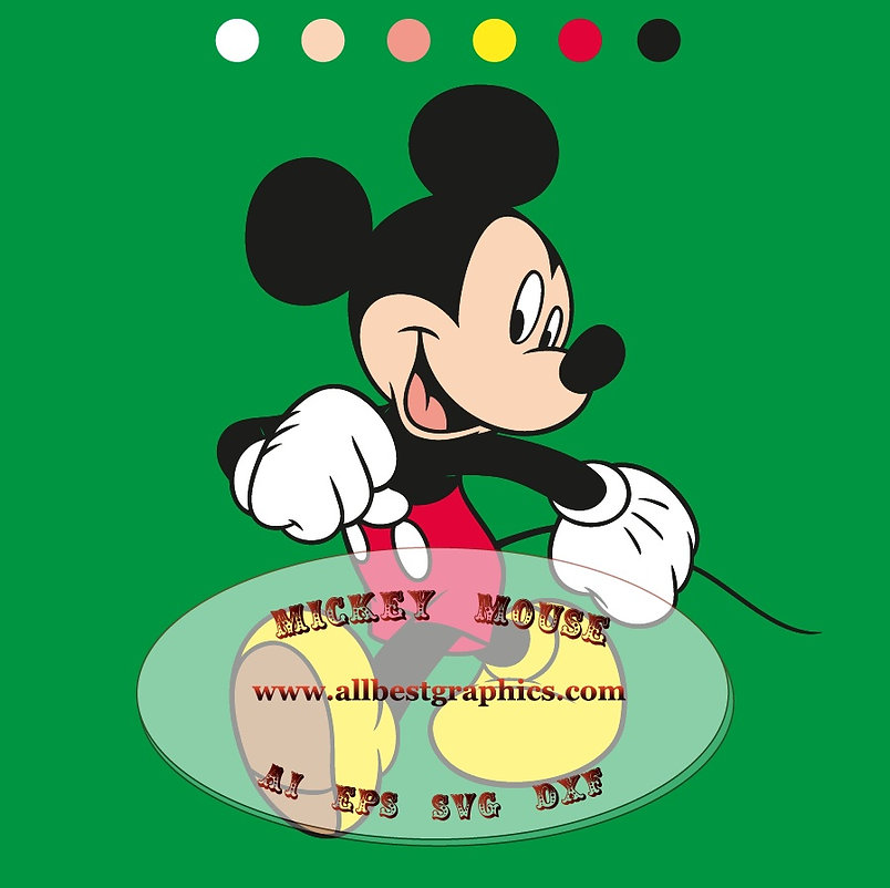 Mickey Mouse clipart Ai Dxf Svg Png Eps   Disney characters cut files Silhouette