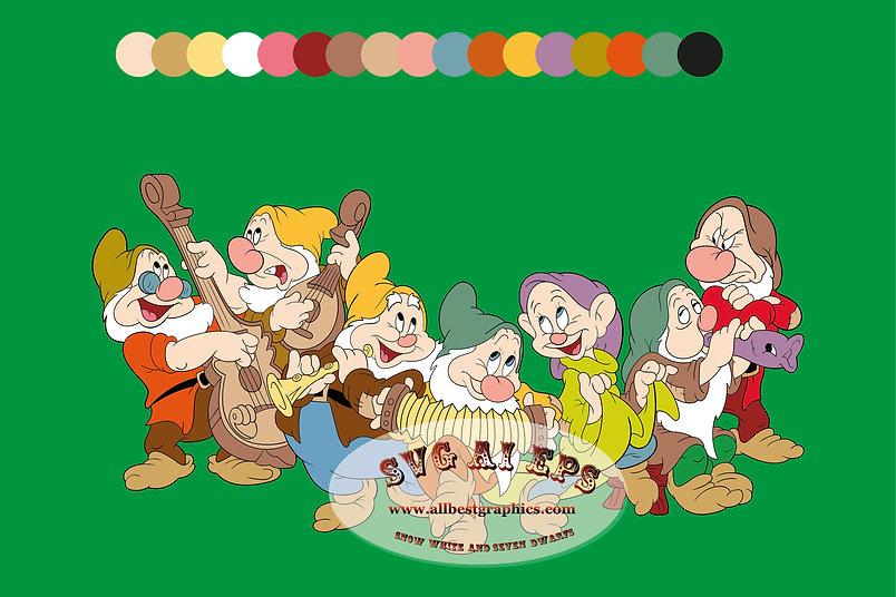 Dancing Dwarfs | Snow White & Seven Dwarfs Disney Clip art Svg Png Eps