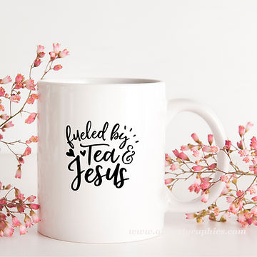 Fueled by Tea & Jesus | Brainy Coffee QuotesCut files inDxf Eps Svg