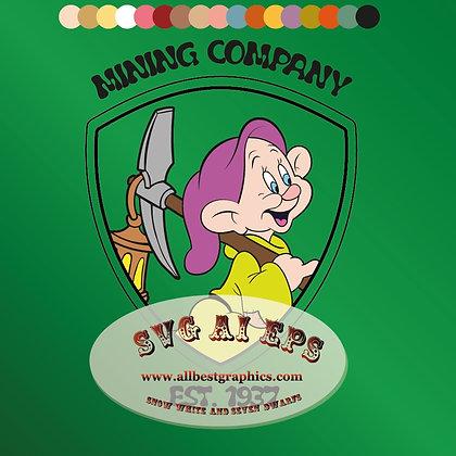 Dopey face svg Mining Company | Snow White & Seven Dwarfs clip art