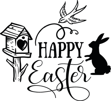 Happy Easter | Happy Easter and Bunny Quotes & Signs in Eps Svg Png Dxf