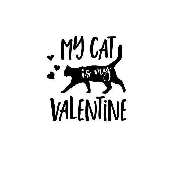 My cat is my valentine Png | Free download Printable Sassy Quotes T- Shirt Design in Png