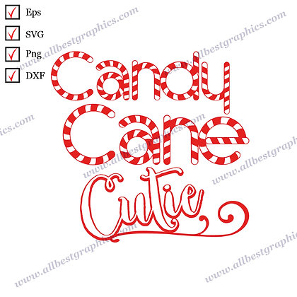 Candy Cane Cutie | Funny Quotes Hand-Lettering Christmas Template Eps SVG Png
