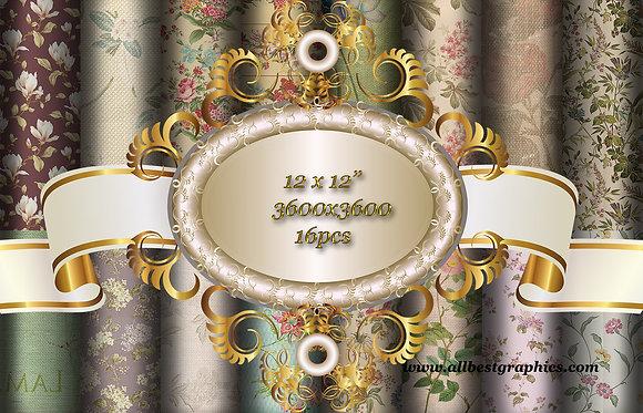 Luxury Vintage Floral Textured Scrapbook Digital Paper with Flowers
