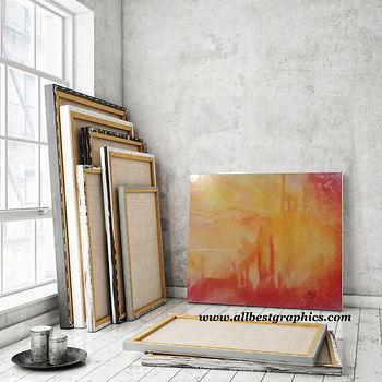 Artists Studio Wooden Easel Canvas Mockup   Photoshop Template Psd Mock up