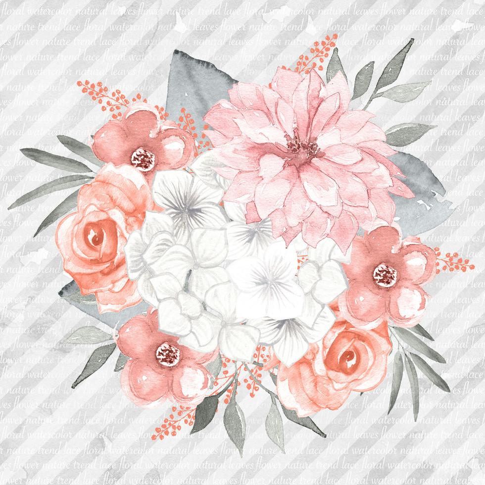 Luxury watercolor digital paper with roses | Handmade Digital Paper
