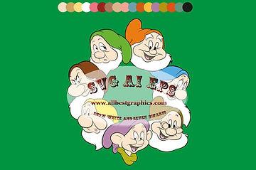 Disney Characters | Snow White & Seven Dwarfs  vector clip art | Eps Svg Png Dxf