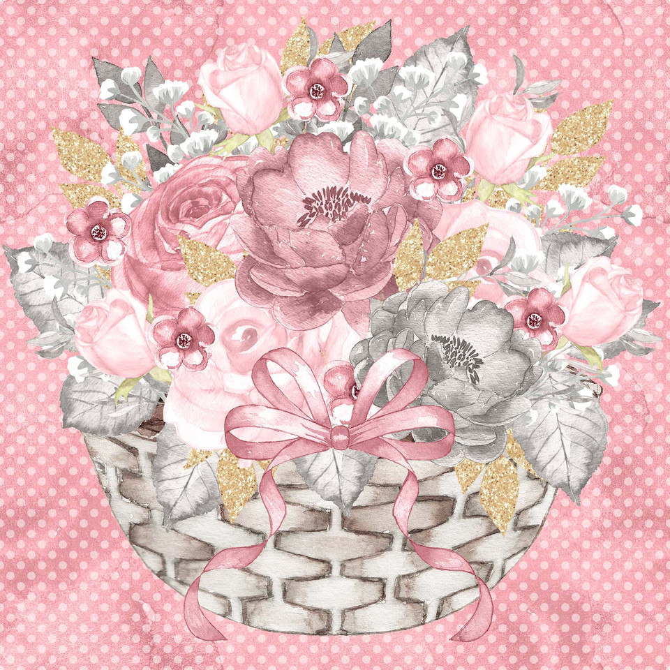 Gorgeous watercolor digital paper with peonies | Collage Sheets & Paper