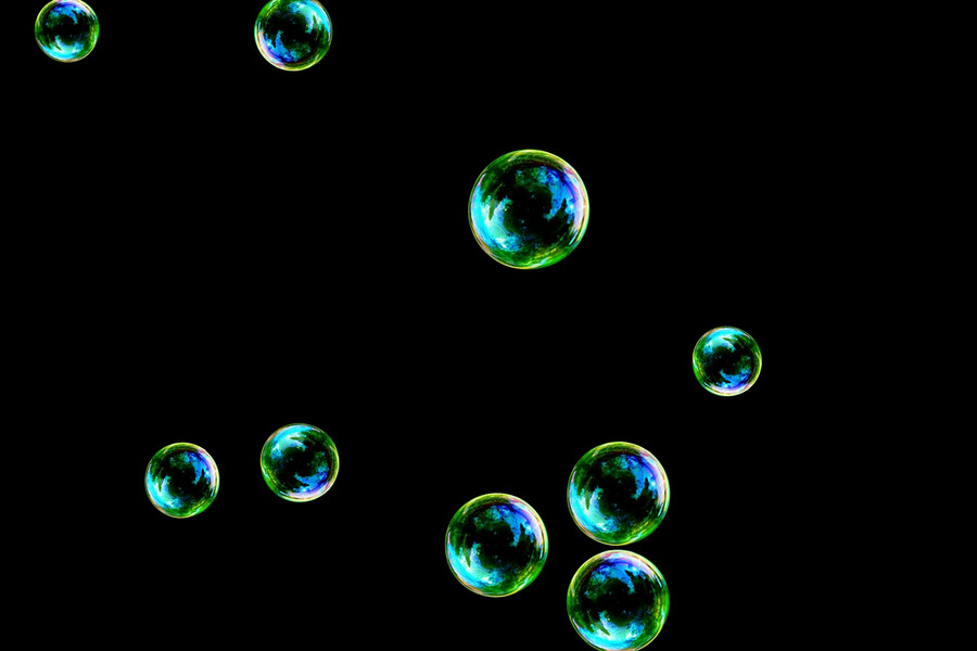 Glorious colorful soap bubbles on black background | Overlay for Photoshop