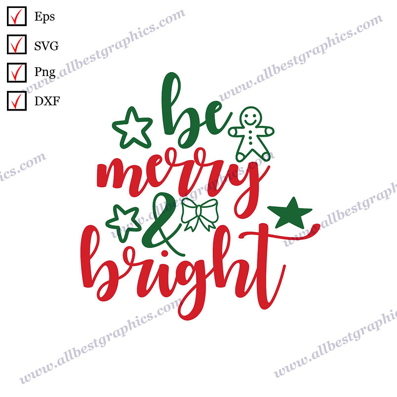 Be Merry & Bright | Funny Quotes Vector Clipart Christmas Template Png Eps Dxf
